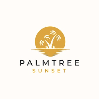Palm tree with sunset logo template.