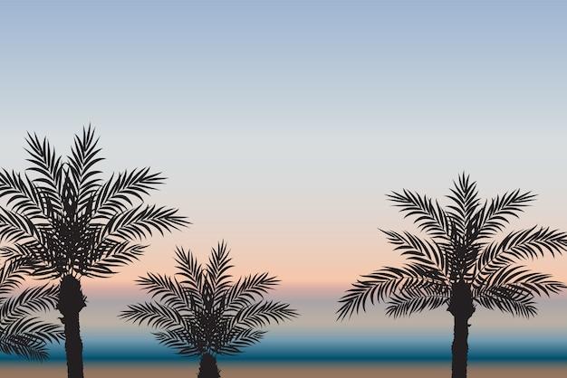 海と夕日を背景にヤシの木。