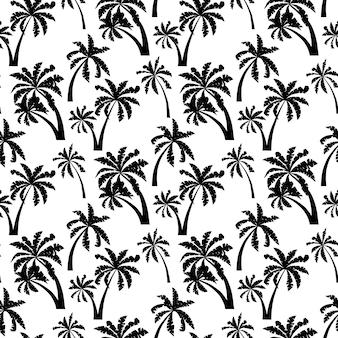 ヤシの木の黒いシルエットの白い背景で隔離のシームレスなパターン。