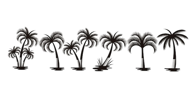 Palm trees or coconut tree logo icon set . collection of silhouette of palm tree and coconut tree .