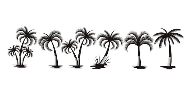 야자수 또는 코코넛 나무 로고 아이콘 세트. 야자수와 코코넛 나무의 실루엣 컬렉션입니다.