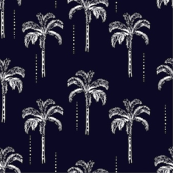 Palm trees silhouette  vector seamless pattern