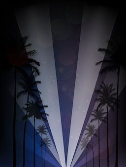 Palm trees silhouettes reflection in the water against night sky