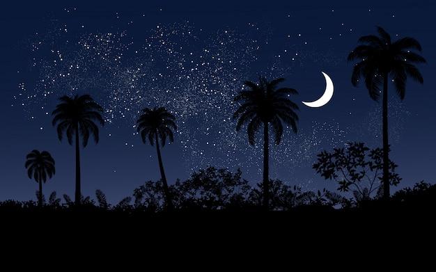 Palm trees under starry sky