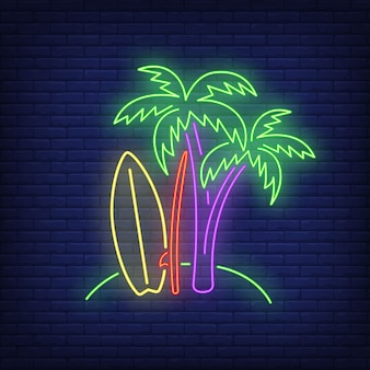 Palm trees and surfboards on beach neon sign. surfing, extreme sport, tourism.
