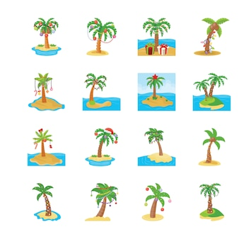 Palm trees vector icons