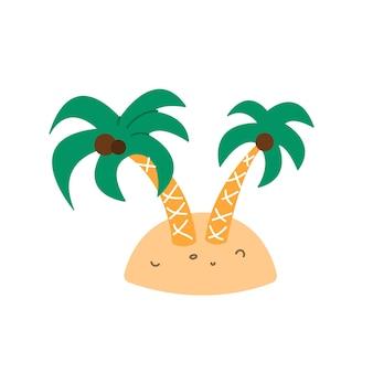 평평한 만화 스타일의 작은 섬 벡터 삽화에 코코넛이 있는 야자수