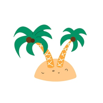 Palm trees with coconuts on small island vector illustration in flat cartoon style