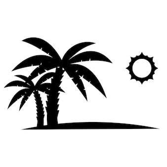 Palm trees with sun in black color glyph icon relaxes palm trees on the beach tropical floral