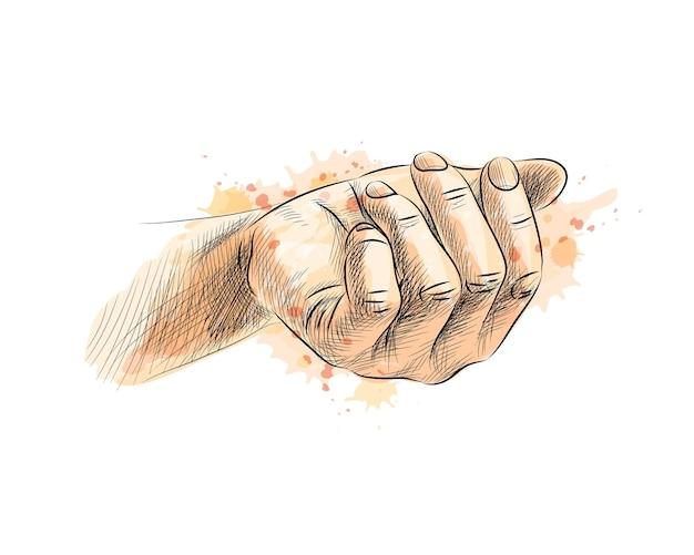 수채화의 스플래시에서 손바닥, 손으로 그린 스케치. 그림 물감