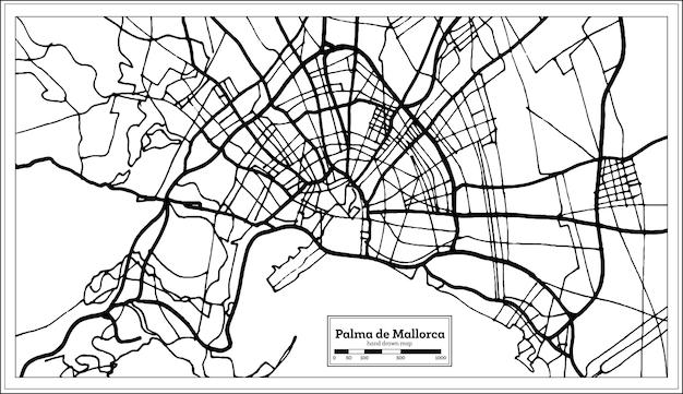 팔마 데 마요르카 스페인 도시 지도 복고 스타일입니다. 개요 지도. 벡터 일러스트 레이 션.