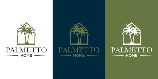 Palmetto and home logo design vector with template background business card