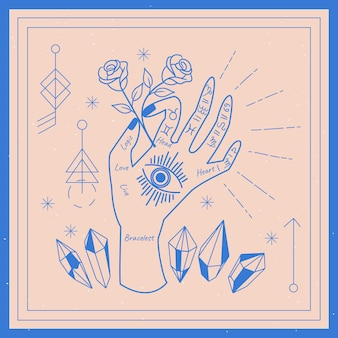 Palmistry concept with rose