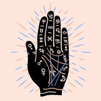 Palmistry concept with symbols