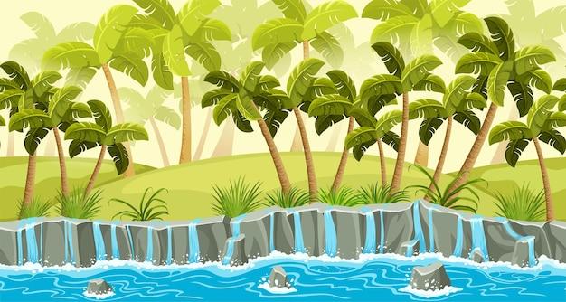 Пальмы граничат со старой серой скалой и каскадами падающей воды пейзаж каменные тротуары с водопадом