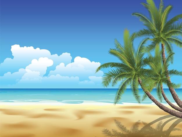 빈 목가적 인 열 대 모래 해변에 손바닥입니다. 이미지에 그라디언트 메쉬가 포함되어 있습니다.