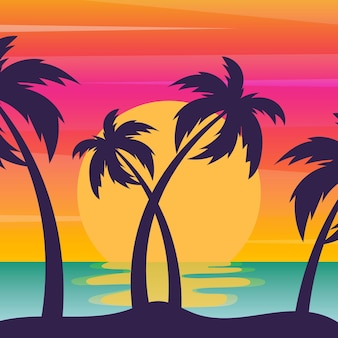 Palms silhouettes background