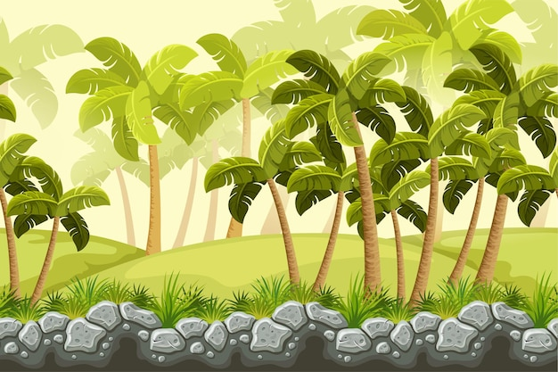 Palms, stone cliff in jungle. seamless landscape.