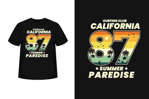 Palms summer paradise califonia beach merchandise silhouette  t-shirt design