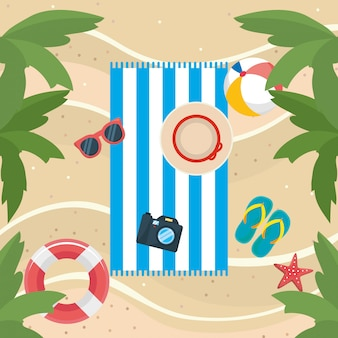 Palms trees with sunglasses and flip-flop with ball and float in the beach