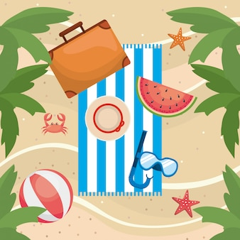 Palms trees with watermelon and briefcase with beach ball and snorkel masks