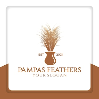 Pampas feathers logo design vector for decoration interior and wedding