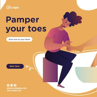 Pamper your toes banner design with salon man is doing pedicure of a woman