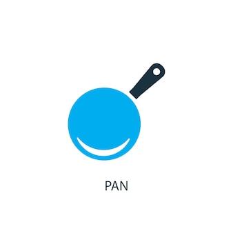 Значок панорамирования. иллюстрация элемента логотипа. дизайн символа кастрюли из 2-х цветной коллекции. простая концепция сковороды. может использоваться в интернете и на мобильных устройствах.
