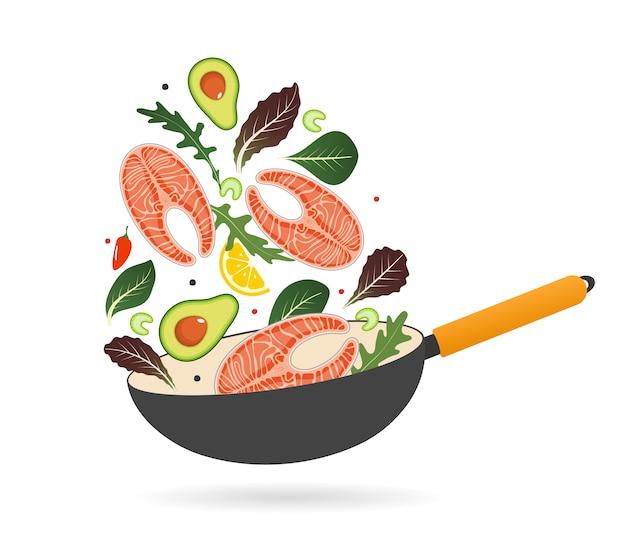 Сковорода со стейком из лосося, авокадо, помидорами и листьями салата.