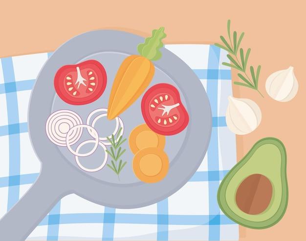 野菜と一緒にパン Premiumベクター