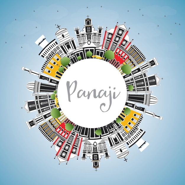 Panaji india city skyline with color buildings, blue sky and copy space. vector illustration. business travel and tourism concept with historic architecture. panaji cityscape with landmarks.