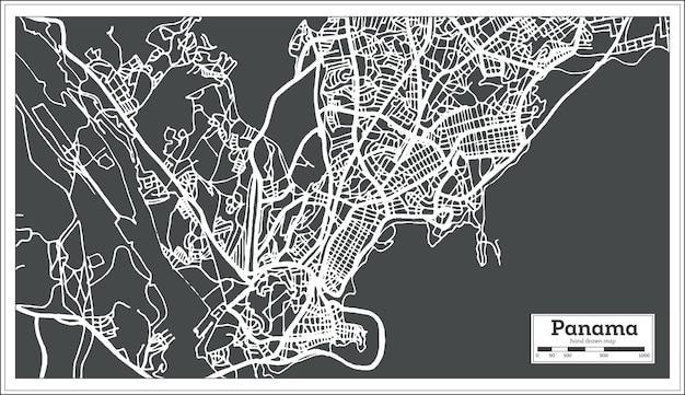 レトロなスタイルのパナマシティマップ。ベクトルイラスト。白地図。