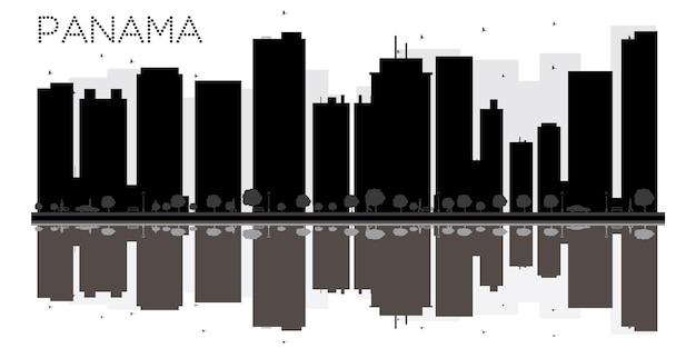 パナマシティのスカイラインの黒と白のシルエットと反射。ベクトルイラスト。観光プレゼンテーション、バナー、プラカードまたはwebサイトのシンプルなフラットコンセプト。ランドマークのある街並み。
