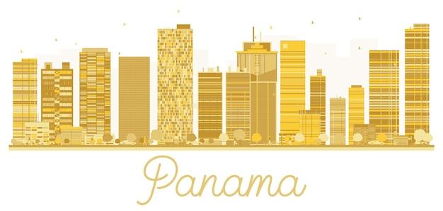 パナマシティのスカイラインの黄金のシルエット。ベクトルイラスト。出張の概念。ランドマークのあるパナマの街並み