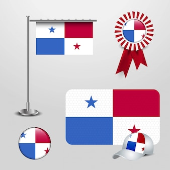 Panama country flag haning on pole, ribbon badge banner, sports hat and round button
