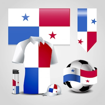 Panama country flag place on t-shirt, lighter, soccer ball, football and sports hat