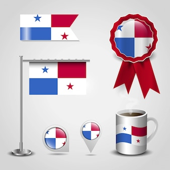 Panama country flag set