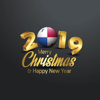 Panama flag 2019 merry christmas typography