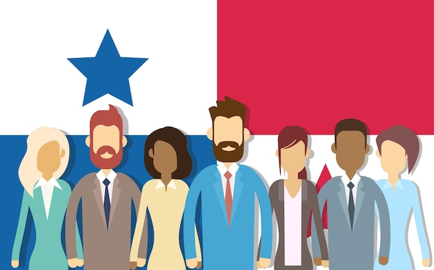 Panama flag businessmen group