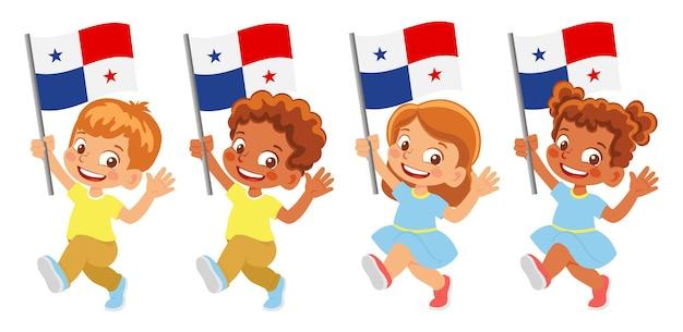 パナマの国旗を手に。旗を持っている子供たち。パナマの国旗