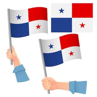 手にセットされたパナマの旗