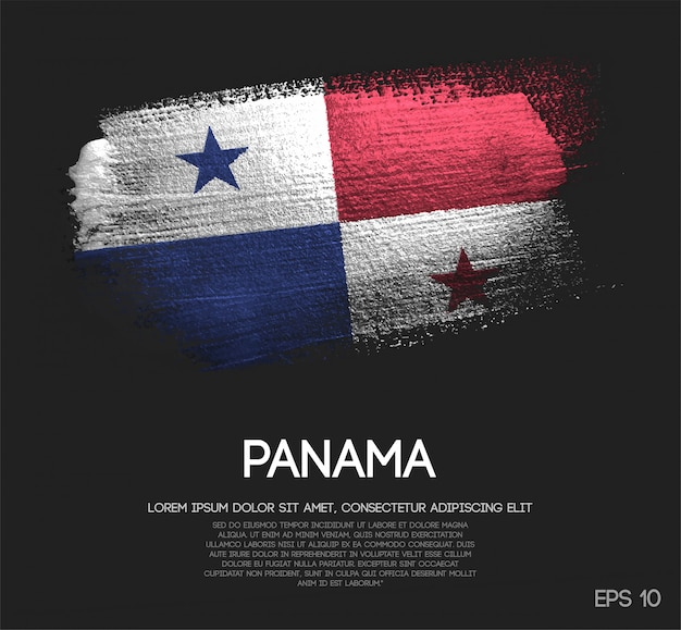 Panama flag made of glitter sparkle brush paint