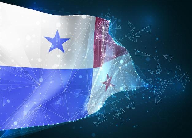 パナマ、旗、青い背景の三角形のポリゴンからの仮想抽象的な3dオブジェクト
