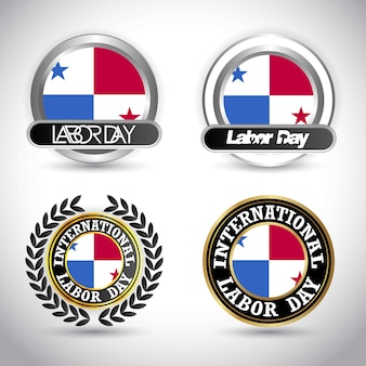 Panama flag with labour day design vector