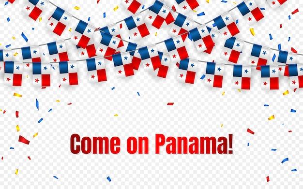 透明な背景に紙吹雪とパナマの花輪の旗、お祝いテンプレートバナーの旗布を掛ける
