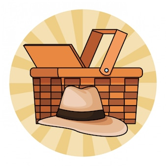 Panama hat and wicker basket