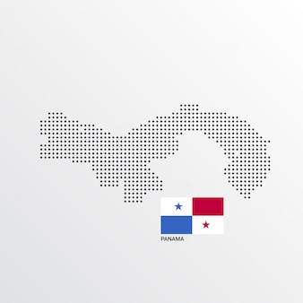 Panama map design with flag and light background vector