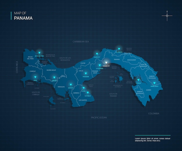 青いネオンライトポイントのパナママップ
