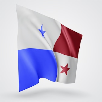 Panama, vector flag with waves and bends waving in the wind on a white background.