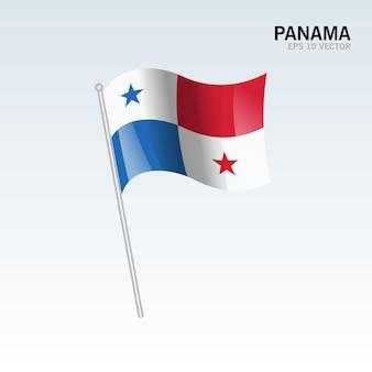 Panama waving flag isolated on gray